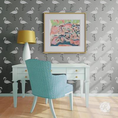 6242L-Flamingo-Deco-Wall-Stencil-retro-design-home-decor