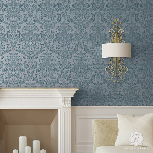 damask-wallpaper-painted-wall-stencils