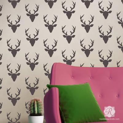 rustic-deer-antlers-heads-designer-wall-stencils
