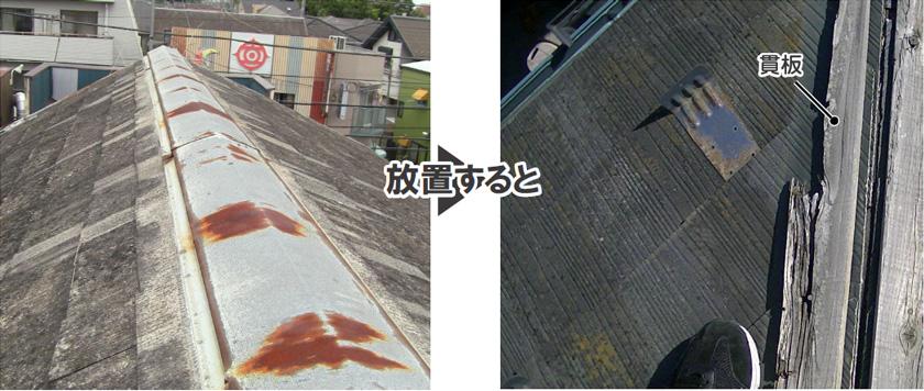屋根棟板金のサビ
